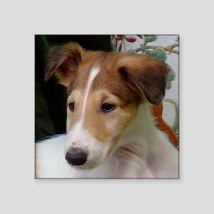 """Borzoi Puppy Portrait Square Sticker 3"""" x 3"""""""