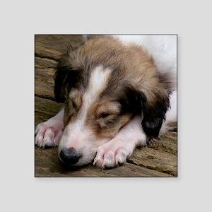 """Snoozing Borzoi Puppy Square Sticker 3"""" x 3"""""""