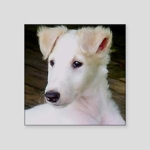 """Blonde Borzoi Puppy Square Sticker 3"""" x 3"""""""