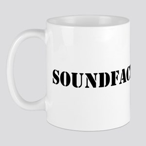 Sound Factory (SF) in black lettering Mug