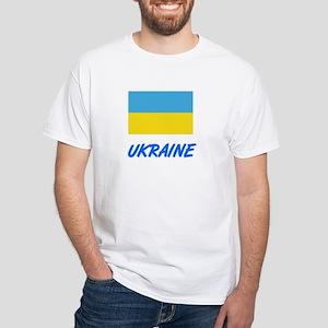 Ukraine Flag Artistic Blue Design T-Shirt