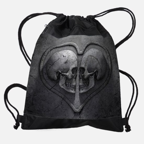 Gothic Skull Heart Drawstring Bag