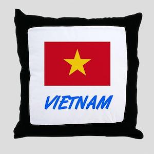 Vietnam Flag Artistic Blue Design Throw Pillow