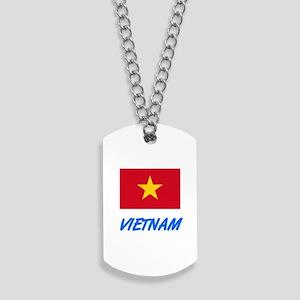 Vietnam Flag Artistic Blue Design Dog Tags