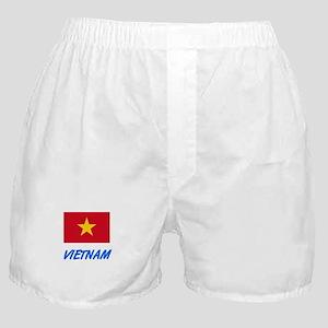 Vietnam Flag Artistic Blue Design Boxer Shorts