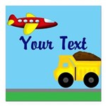 Trucks and Planes Square Car Magnet 3