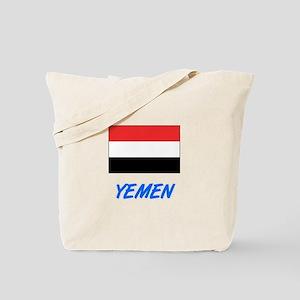 Yemen Flag Artistic Blue Design Tote Bag