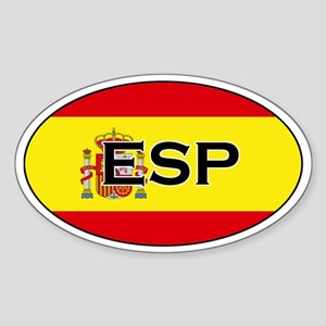 Spanish flag with text Oval Sticker