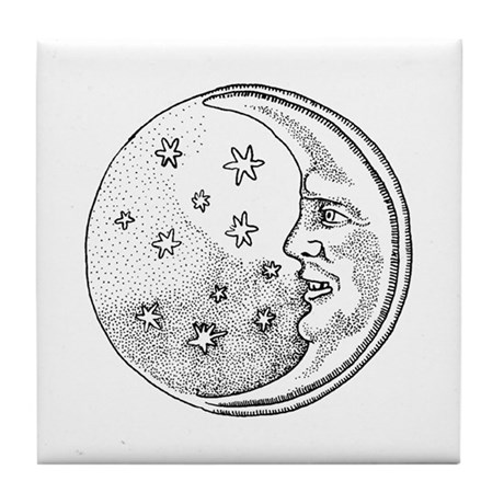 Moon With Stars Circle Tile Coaster