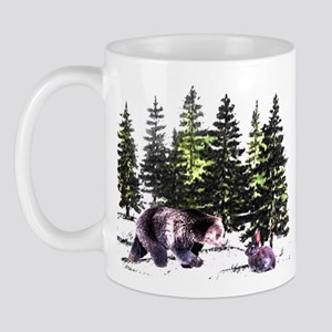 Bear and Bunny in the Woods  Mug