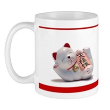 Japanese Fortune Cat Mug - Red