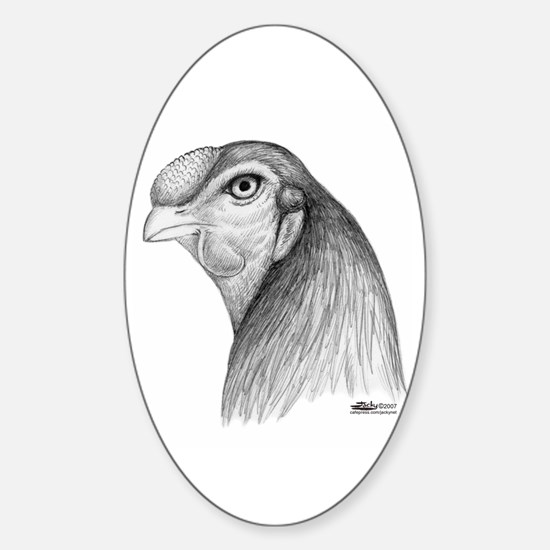 Malay Rooster Head Oval Decal