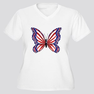 Patriotic Butterfly Women's Plus Size V-Neck T-Shi