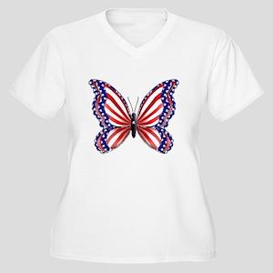 Patriotic Butterfly Women's Plus Size V-Neck T-Shi