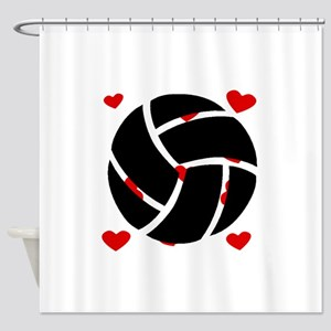 Volleyball Hearts Shower Curtain
