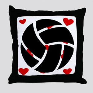 Volleyball Hearts Throw Pillow