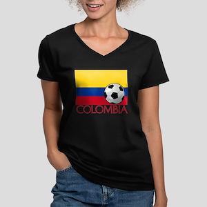 Colombia Soccer / Foot Women's V-Neck Dark T-Shirt