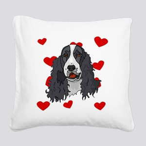 Springer Spaniel Love Square Canvas Pillow