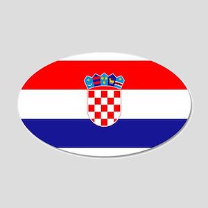 Croatian flag 20x12 Oval Wall Decal