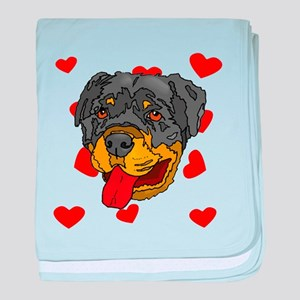 Rottweiler Love baby blanket
