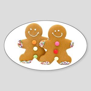 Gingerbread Men Sticker (Oval)