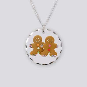 Gingerbread Men Necklace Circle Charm