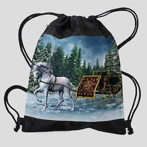 Christmas Sleigh Drawstring Bag