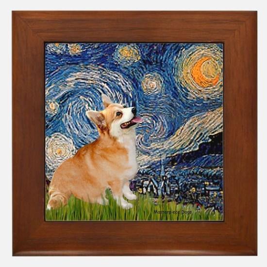 Starry Night Corgi Framed Tile