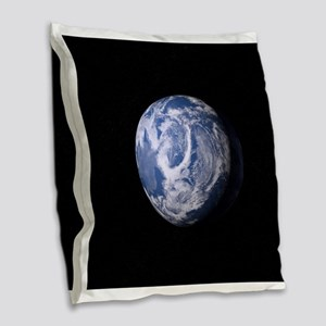 Blue Plant Earth Burlap Throw Pillow