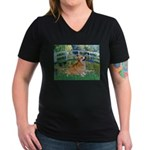 Bridge / Corgi Women's V-Neck Dark T-Shirt