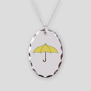 Yellow Umbrella Necklace Oval Charm