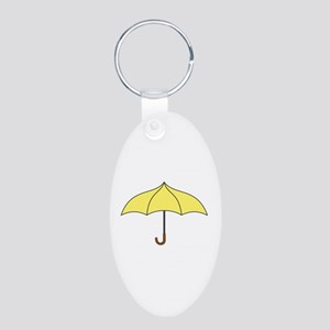 Yellow Umbrella Aluminum Oval Keychain