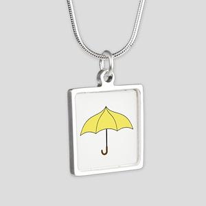 Yellow Umbrella Silver Square Necklace