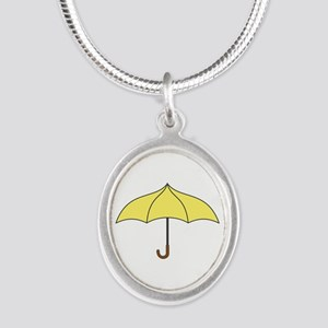 Yellow Umbrella Silver Oval Necklace