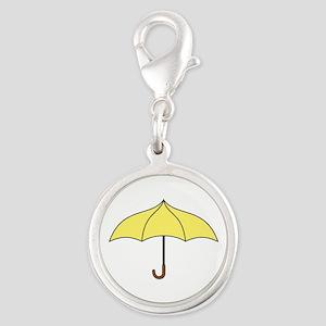 Yellow Umbrella Silver Round Charm