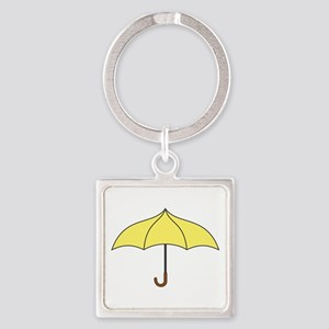 Yellow Umbrella Square Keychain