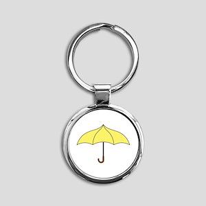 Yellow Umbrella Round Keychain