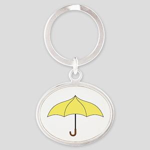 Yellow Umbrella Oval Keychain