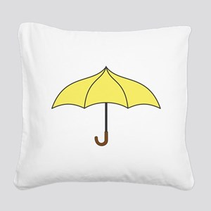 Yellow Umbrella Square Canvas Pillow