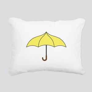 Yellow Umbrella Rectangular Canvas Pillow
