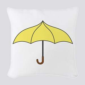 Yellow Umbrella Woven Throw Pillow