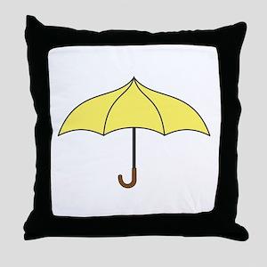 Yellow Umbrella Throw Pillow