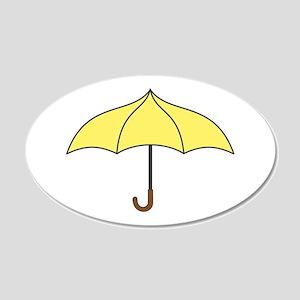 Yellow Umbrella 20x12 Oval Wall Decal