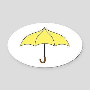 Yellow Umbrella Oval Car Magnet