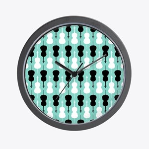 Cello Pattern - Teal Wall Clock