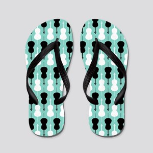 Cello Pattern - Teal Flip Flops