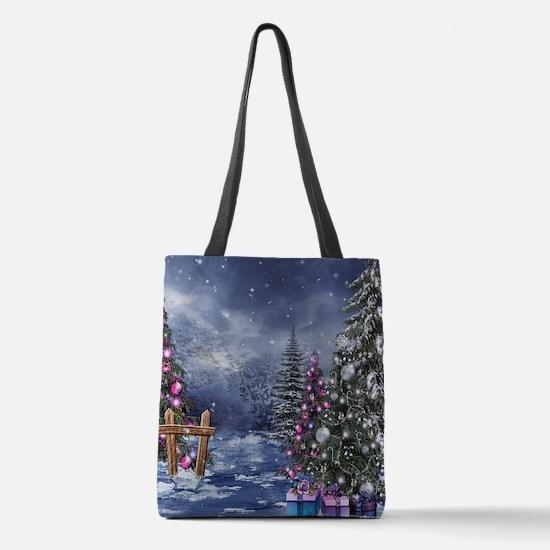 Christmas Landscape Polyester Tote Bag