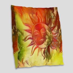 Blissful Sun Moon Burlap Throw Pillow