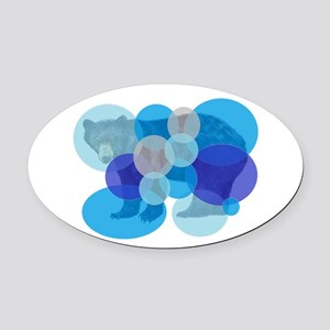 BEAR BUBBLED Oval Car Magnet
