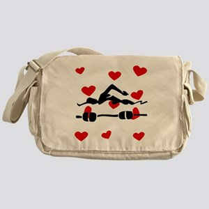 Swimmer Hearts Messenger Bag